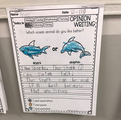 early student writing